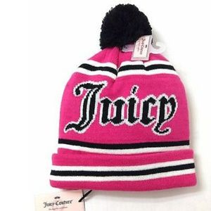 New Juicy Couture pink and black beanie